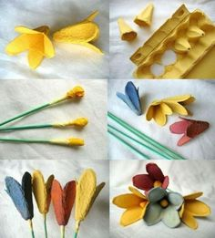 1001 clever DIY ideas with egg carton - Upcycling Handmade Flowers, Diy Flowers, Paper Flowers, Recycled Crafts, Diy And Crafts, Egg Box Craft, Diy For Kids, Crafts For Kids, Egg Carton Crafts