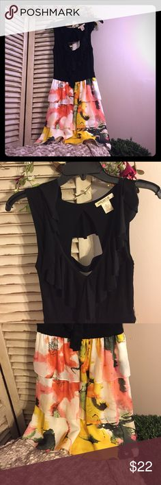 NWOT Arden B. Black on Color Tiered Dress NEW w/out Tags Arden B. Black on Color Tiered Dress. Tag reads size small. Women's or Junior's Sizes 4-6 are ideal for this dress. Chest measures 16 Inches. Total Length is 34 Inches. Has some stretch. Subtle ruffled detail around neckline. Bottom half of dress is Sheer multicolored layers. Perfect Condition. Never Worn. Arden B Dresses