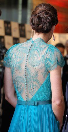 Kate Middleton's Teal Gown Back detail