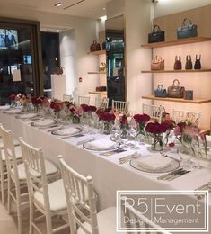 Private event for Mulberry Toronto. Deep crimson flowers with monochromatic red- By Event Design Event Company, Bat Mitzvah, Corporate Events, Event Design, Toronto, Wedding Decorations, Table Settings, Deep, Flowers