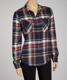 Take a look at this Wine Berry Plaid Button-Up - Women on zulily today!