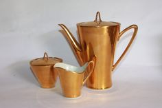 Gold lustre coffee pot cream jug and sugar by MillCottageRetro
