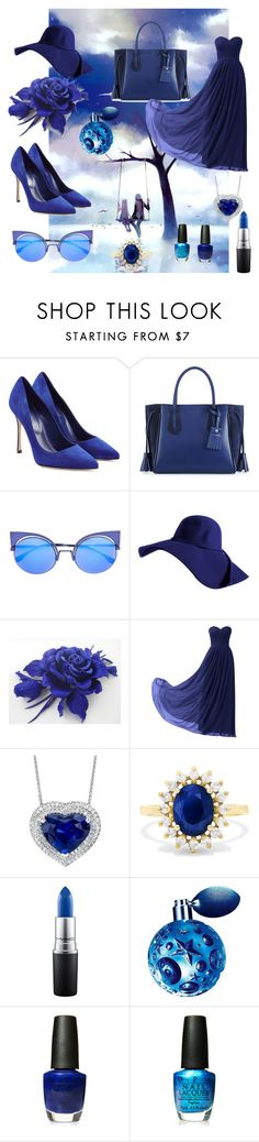 """""""blue"""" by amelica1 ❤ liked on Polyvore featuring beauty, GE, Sergio Rossi, Longchamp, Fendi, Remedios, Effy Jewelry, MAC Cosmetics, Thierry Mugler and OPI"""