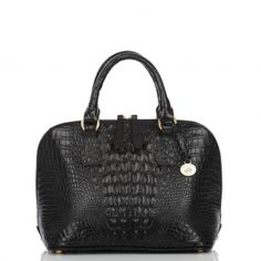 Vivian Dome Satchel  The Black Croco Collection  The vivian dome satchel has a two way zipper satchel with structured footed bottom. An iconic style then, perfectly on trend now. Available in our classic and rich black croco embossed leather-never goes out of style.