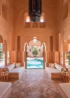 The Moorish palace of Amanjena, with its rose-hued buildings. Moroccan Theme, Moroccan Design, Moroccan Style, Vernacular Architecture, Islamic Architecture, Interior Architecture, Exterior Design, Interior And Exterior, Home Room Design
