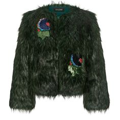 Saloni - Embellished Appliques Cropped Fur Coat ($675) ❤ liked on Polyvore featuring outerwear, coats, shiny coat, green fur coat, sequin coat, cropped coat and embellished coat