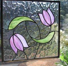 Swirling Tulips Stained Glass Panel by Nanantz on Etsy, $95.00