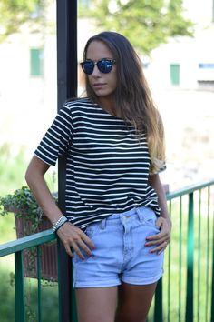 high waisted denim shorts - striped tee - ootd