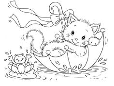 Kitty Cat Coloring Pages, Animal Printabel coloring pages kitty cat and frog in umbrella Make your world more colorful with free printable coloring pages from italks. Our free coloring pages for adults and kids. Cat Coloring Page, Animal Coloring Pages, Coloring Book Pages, Coloring Pages For Kids, Coloring Sheets, Kids Coloring, Fairy Coloring, Mandala Coloring, Cat Colors