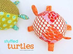 Your little ones will love these cute stuffed fabric turtles. They are soft and plump using fiberfil to stuff the parts, and are perfect for little hands.