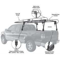 Picture of Steel Pickup Truck Ladder Rack Source link Jeep Pickup Truck, Pickup Camper, Classic Pickup Trucks, Old Ford Trucks, Big Trucks, Lifted Trucks, Truck Tent, Truck Camping, Nissan