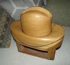 Vintage Wooden Hat Block Mold Stand Cowboy Stetson Fedora Homburg 2 Crowns 7 1/8