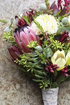 TATTOO INSPO native spring bouquet with white waratah, protea, leucadendrons, kangaroo paw and eucalyptus buds Flor Protea, Protea Bouquet, Winter Wedding Flowers, Flower Bouquet Wedding, Floral Wedding, Flower Bouquets, Trendy Wedding, Exotic Flowers, Wedding Inspiration
