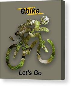 Ebike Canvas Print featuring the mixed media ebike Let's Go by Marvin Blaine