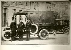 """El Paso, Texas.  Three officers standing by a motorized """"Paddy"""" wagon and a police sedan parked in front of police headquarter at 219. S. Campbell St. The photo is from the 1920 """"Police Annual Report""""."""