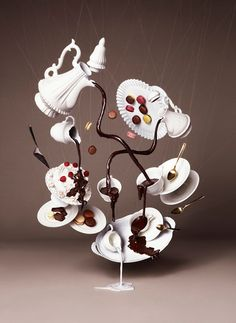 Gravity Defying Photography for Chocolate Trail by NAM Mad Hatter's Tea Party alice in wonderland Chocolate Photos, Chocolate Art, Molding Chocolate, Magic Chocolate, Chocolate Showpiece, Surrealism Photography, Art Photography, Gravity Cake, Food Art