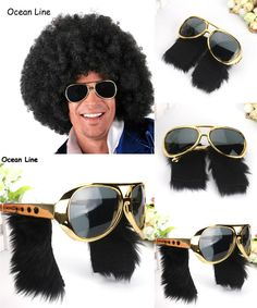 [Visit to Buy] Funny Elvis Goggles Costume Glasses with Sideburns Rock and Roll Mask Party Favors Accessories Festive Party Supplies Decoration #Advertisement