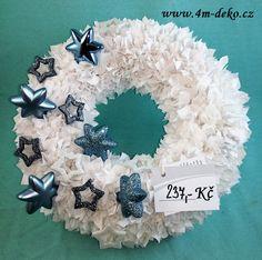Vypichovaný látkový adventní věnec bílý. Hanukkah, Wreaths, Home Decor, Decoration Home, Door Wreaths, Room Decor, Deco Mesh Wreaths, Home Interior Design, Floral Arrangements