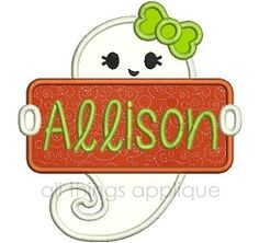 Ghost Name Patch Applique, Girl - 3 Sizes! | What's New | Machine Embroidery Designs | SWAKembroidery.com All Things Applique