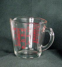Julia Child's Pyrex Measuring Cup: The well-known cookbook author and television cooking show star Julia Child had a number of the most commonly used American kitchen measuring devices in her kitchen. Liquid Measuring Cup, Measuring Cups, American Kitchen, Pyrex, Postwar, Author, Child, Number, Spoons