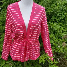 Pink stripe sweater Pink stripe sweater.  Grommets where it ties. Size xl. 19 inches bust 25 length.  All measurements are approximate Jones New York Sweaters Cardigans