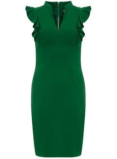 Green Frill Shoulder Dress