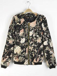 Black Long Sleeve Floral Zipper Jacket
