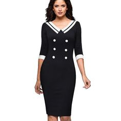 a0521f0b86 Nice-forever Vintage Contrast Color Patchwork V-neck Wear to Work Button  vestidos Office Business Women Bodycon Dress B415