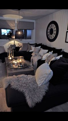 Wow! I love this black and gray living room sectional