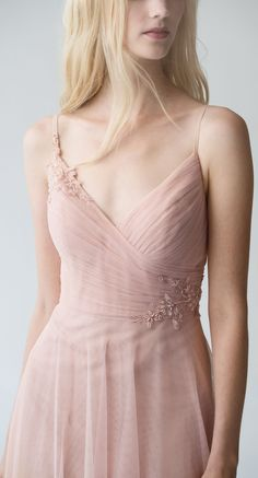 Brielle Bridesmaid Dress with Applique in Cameo Pink Tulle by Jenny Yoo