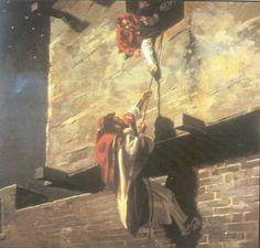 Rahab helping the Hebrew spys.