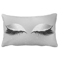 Silver Gray Princess Beauty Lashes Glitter Makeup Lumbar Pillow - glitter glamour brilliance sparkle design idea diy elegant