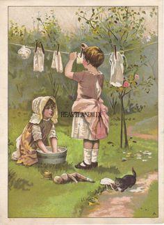 Vintage Girls putting up the Laundry Art Digital by HEARTLANDMIX