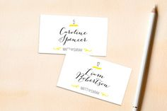 """""""Bistro"""" - Bold typographic, Modern Wedding Place Cards in Lemon by…"""