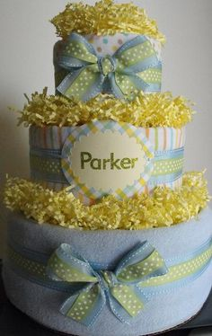 3-Tier Neutral Diaper Cake