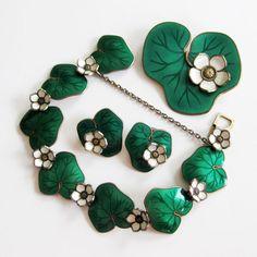 Vintage David-Andersen Waterlily Parure Green Bracelet Earrings Brooch Sterling Enamel Norway