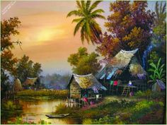 images of village painintings French Paintings, Scenery Paintings, Dance Paintings, Landscape Paintings, Fire Painting, Oil Painting Pictures, Nature Posters, Thai Art, Mountain Landscape