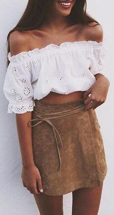off-the-shoulder crop top + suede skirt