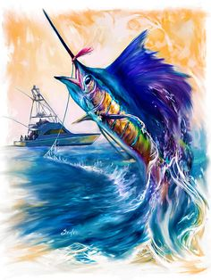 """Sailfish and Sportfishing Yacht"" Sailfish fishing art. A contemporary Game fish painting by renowned sporting marine and Fish artist Savlen. Sport Fishing, Gone Fishing, Fishing Yachts, Fishing Charters, Fishing Boats, Sea Art, Colorful Paintings, Fish Art, Wildlife Art"