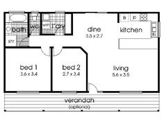 Small 2 Bedroom Home Floor Plans