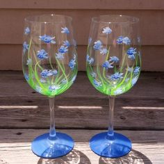 Little Blue Fish hand painted wine glasses. by GlassesbyJoAnne, $38.00