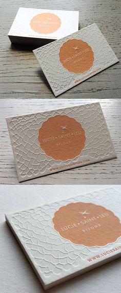 Textured Letterpress Business Card Design For A Jewellery Designer