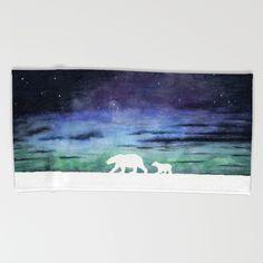 """Aurora borealis and polar bears (white version)"" Beach Towel, Bath Towel & Hand Towel by @savousepate on @society6 #polarbears #auroraborealis #watercolor #painting"
