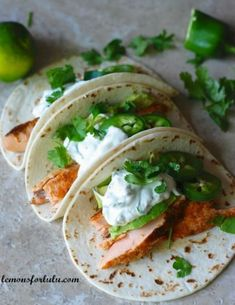 Salmon Tacos with Jalapeño Cream | lemonsforlulu.com