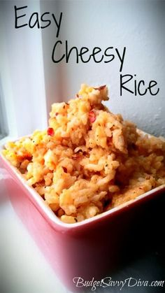 Easy Cheesy Rice - Cooking it now. Gf Recipes, Side Dish Recipes, Mexican Food Recipes, Great Recipes, Cooking Recipes, Favorite Recipes, Healthy Recipes, Side Dishes, Cooking Icon
