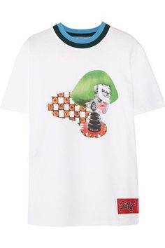 Prada - Ribbed Knit-trimmed Printed Cotton-jersey T-shirt - White -
