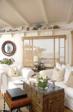 15 Cottage Living Rooms Ideas.  I like the idea of using glass to top the old trunk