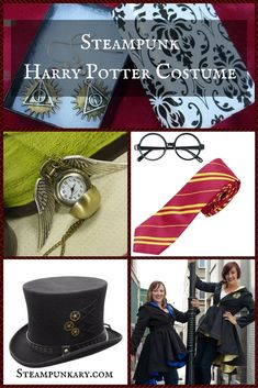 Harry Potter Costume Steampunk Harry Potter Costume - Here we look at some pieces that will help you create steampunk Harry Potter costumes that will be the hit of the costume party. Costume Steampunk, Steampunk Top Hat, Steampunk Halloween, Steampunk Design, Steampunk Wedding, Steampunk Clothing, Steampunk Fashion, Steampunk Diy, Female Harry Potter