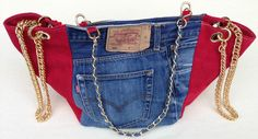 Borsa Bag Maxi Shopping Jeans Made in Tuscany Fashion Pelle/Denim Jeans Levi's