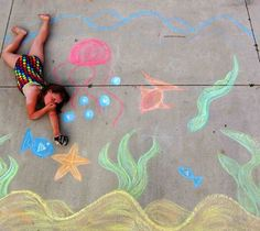 22 Totally Awesome Sidewalk Chalk Ideas - Under the Sea Chalk Art